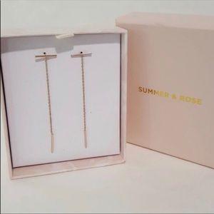 SUMMER ROSE rose gold bar chain earrings
